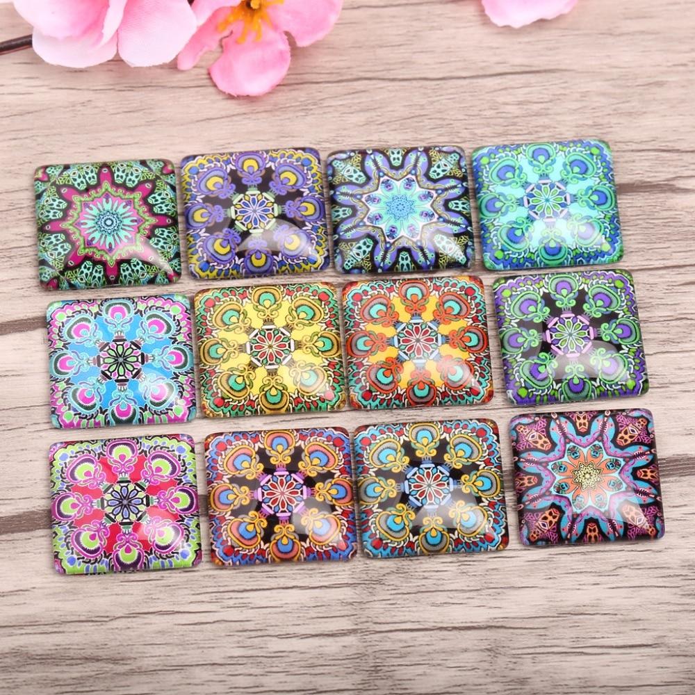 reidgaller 20pcs Square glass cabochon 20mm 25mm mixed mandala photo flatback pendant jewelry cameo cabochons mixed print square coaster