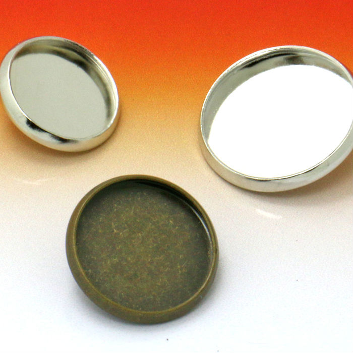 100X with inner 12/14/16/18/20mm two color Metal Cufflink Base W/Inner Cameo Cabochon Setting Tray Cuff links Blank