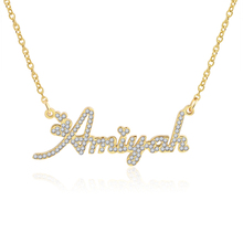 3UMeter Crystal Pendant Name Necklace Stone Chain Zirconia Necklaces Women Personalized with Names Initial Letters
