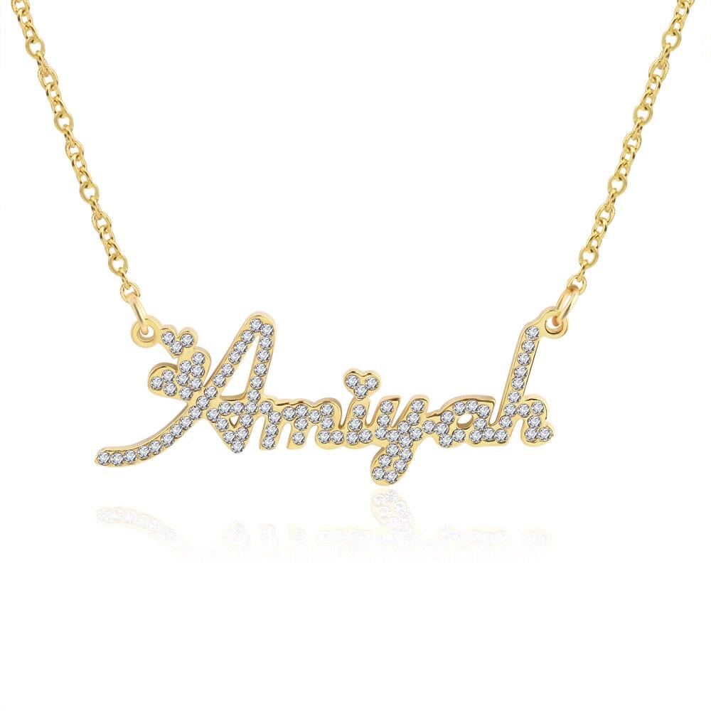 3UMeter cristal pendentif nom collier pierre chaîne zircone colliers femmes personnalisé collier avec noms lettres initiales