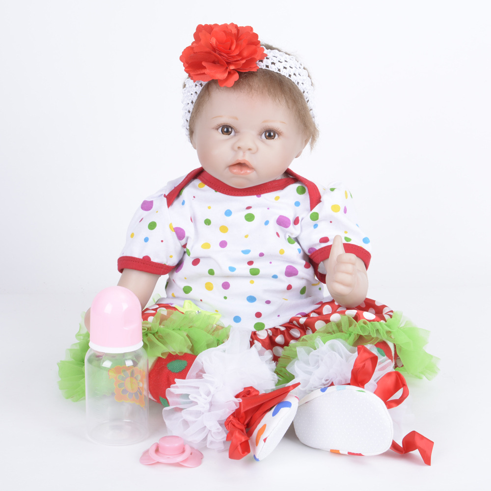 22 Inches Reborn Baby Doll Lifelike Girl Doll Soft Silicone Newborn Doll with Cloth Body Toy For New Year Xmas Gift rare w i t c h 6 inches doll with pvc bag collection girl gift