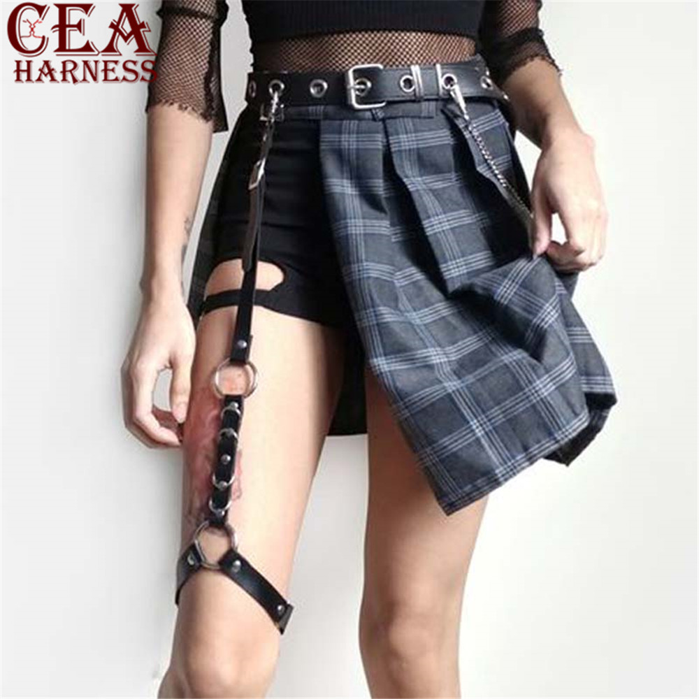CEA.HARNESS Sexy Women Learther Harness Harajuku Single Strap Clip Leather Punk Suspender Adjustable Leg Handmade Sock Garter