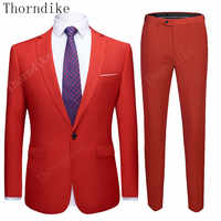 Thorndike Suit Slim Fit Men 20Colors Set Red And White Tuxedo Business Formal Wear Party Dress Suits Men's Clothing 2 Pieces 5XL