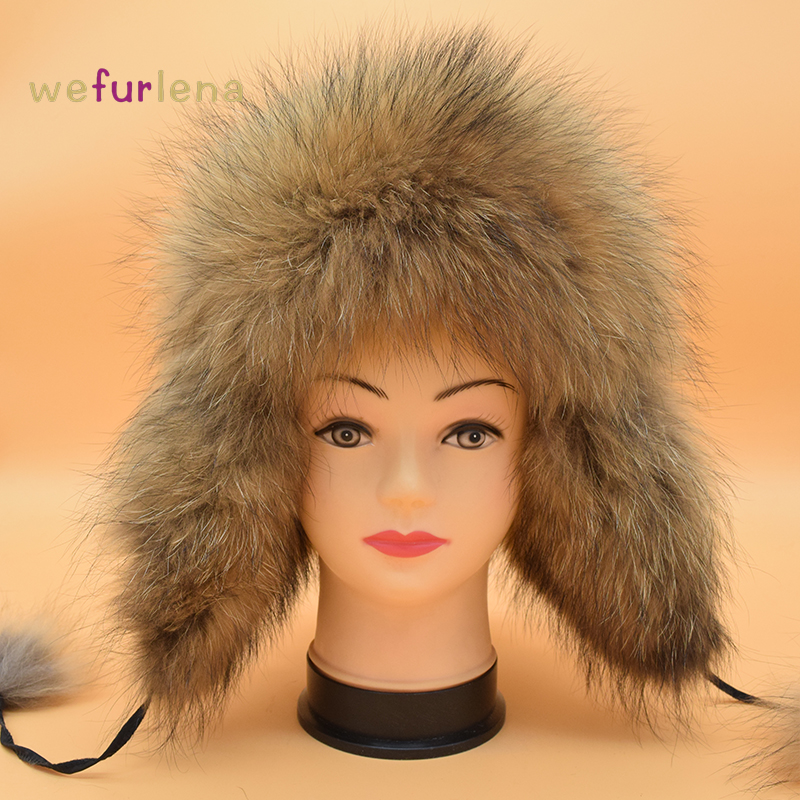 2017 Direct Selling New Beanie Women Real Fox Hat Winter Russian Warm Raccon Dog Fur Leifeng Genuine Bomber Solid Ear Hats сковорода fiskars functional form диаметр 28см 1015337