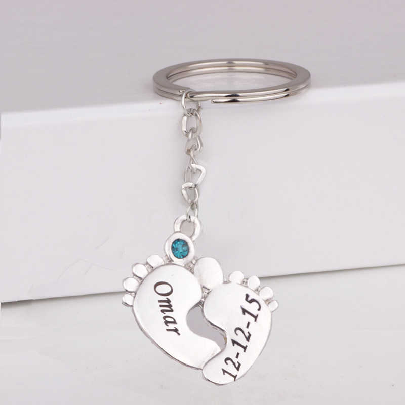Baby Feet Print Keychain Custom Any Name & Date & Birthstone Birthday Gift for Family Drop Shipping Accept YP3055