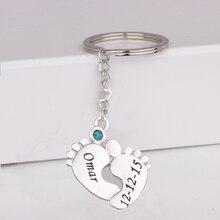 лучшая цена Baby Feet Print Keychain Custom Any Name & Date & Birthstone Birthday Gift for Family Drop Shipping Accept YP3055
