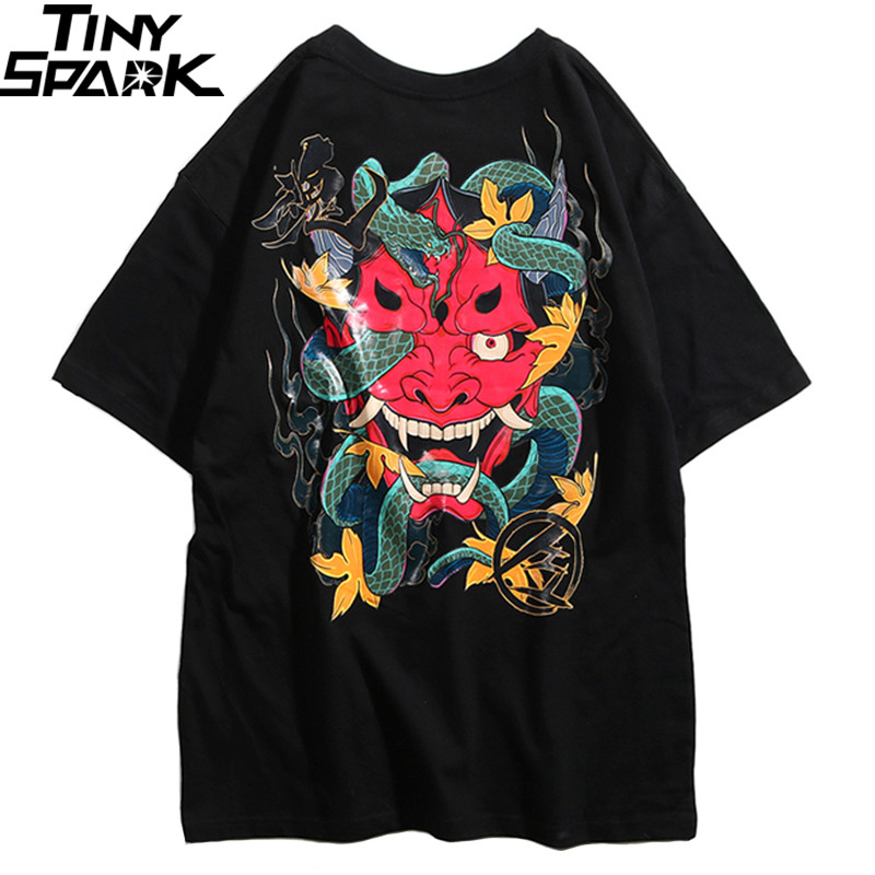 2019 Hip Hop   T     Shirt   Men Snake Ghost   T  -  shirt   Harajuku Streetwear Tshirt Cotton Short Sleeve Summer Tops Tee HipHop Back Printed