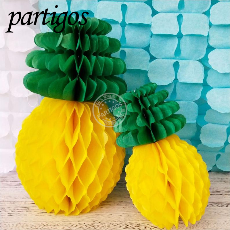 Tropical Pineapple Paper Honeycomb Ball Lantern Hawaii Party Decor DIY Party Supplies Paper Flower Lantern Pineapple Cake Topper