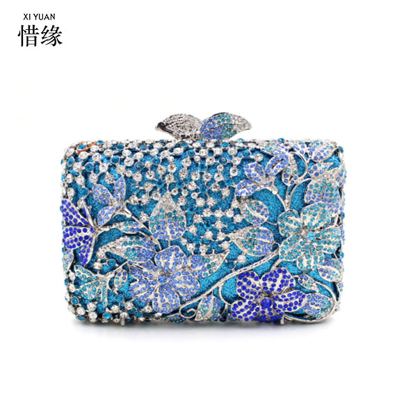 XIYUAN BRAND Pink Crystal Diamond Women flower Evening Clutch Bag Bridal Mini Metal Handbag and Purse Wedding Clutches blue pink crystal flower floral fashion wedding bridal hollow metal evening purse clutch bag case box handbag smyzh e0093