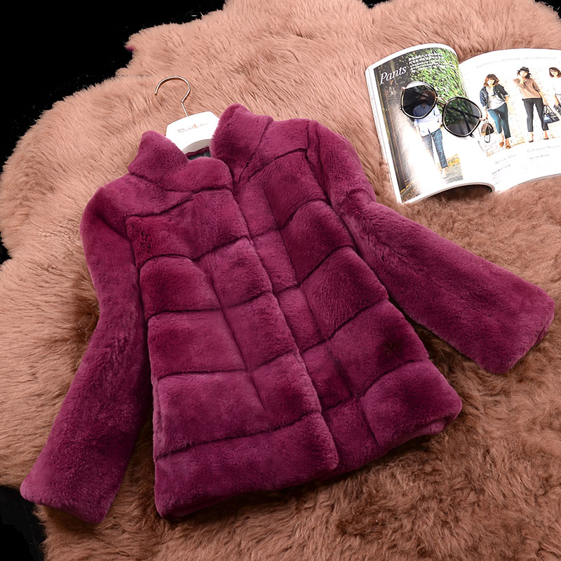 Wave Cut High Quality Rex Rabbit Fur Jackets Women Stand Collar 9/10 Sleeve Short Design Thick Winter Real Fur Coats Outerwear