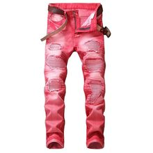 (No Belt) 2018 Spring Punk Style Men's Jeans Fashion Casual New Straight High Elasticity 28-42 Washed Ripped Hole Trousers