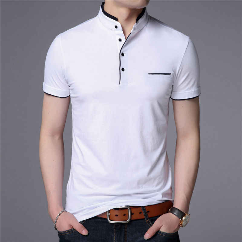 Fuybill Mandarin Collar Lengan Pendek T-shirt Pria 2018 Musim Semi Musim Panas Gaya Top Merek Slim Katun t-shirt