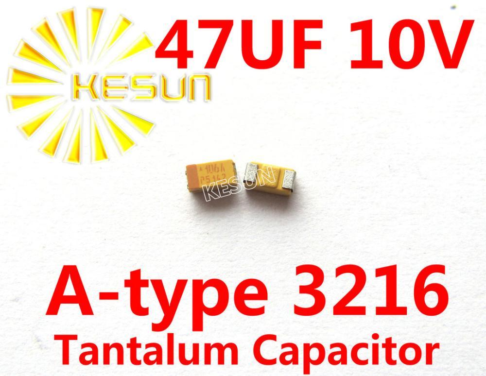 10Pcs Tantalum Capacitor SMD 6.3V47UF 47UF 6.3V AVX TAJA476K006RNJ 1206 A type