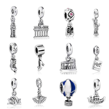 Hight Quality Silver Charms Travel World Pendant European Charm Fit Snake Chain Bracelet DIY Original Jewelry Making
