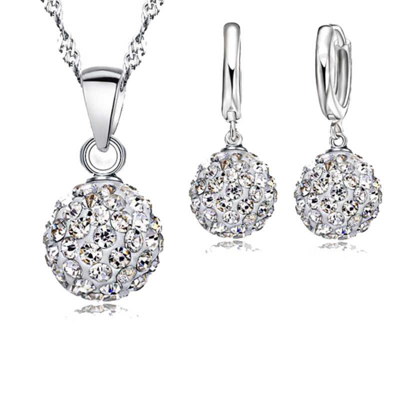 925 Sterling Silber Schmuck Set Für Frauen Kristall Ball Glänzenden Brillant Casual Anhänger Halskette Hoop Ohrringe Große Förderung Heißer