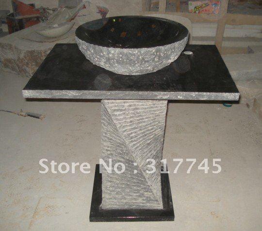 unique pedestal sink   100%black granite stone pedestal sink for bathroom,gartern ...