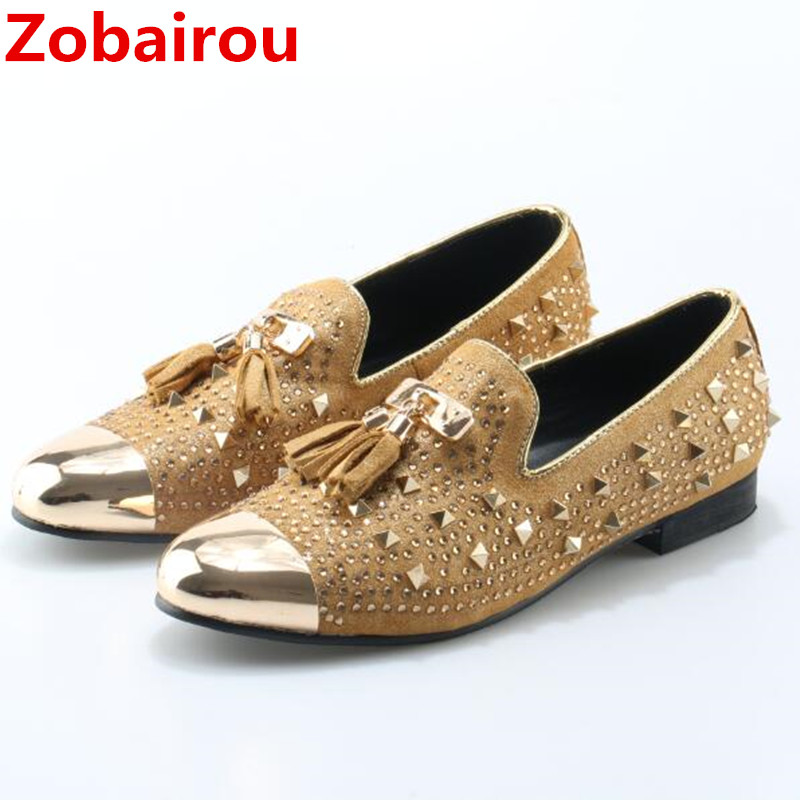 Zobairou italian shoes men leather Flat Loafers gold Crystal Bling Bling Rhinestone Leather Dress Shoes Slip On Zapatos Hombre Zobairou italian shoes men leather Flat Loafers gold Crystal Bling Bling Rhinestone Leather Dress Shoes Slip On Zapatos Hombre