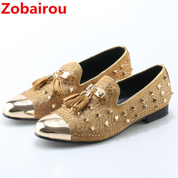 Zobairou italian shoes men leather Flat Loafers gold Crystal Bling Bling Rhinestone Leather Dress Shoes Slip On Zapatos Hombre