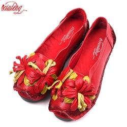 Xiuteng New National Wind Flowers Handmade Genuine Leather Shoes Women Retro Soft Bottom Flat Shoes Summer Canvas Ballet Flats 1