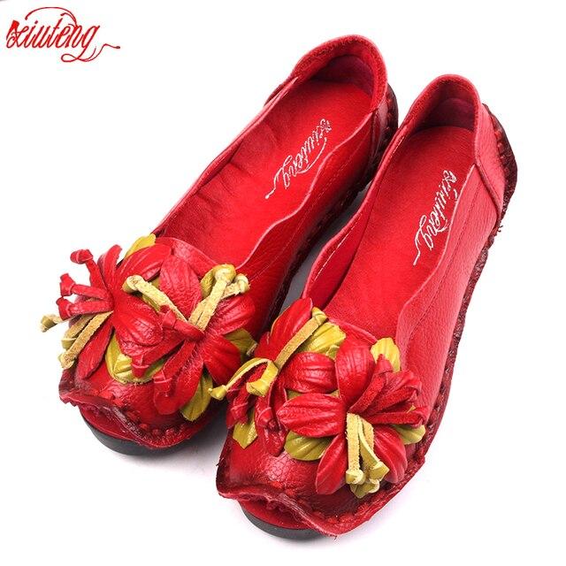 Xiuteng New National Wind Flowers Handmade Genuine Leather Shoes Women Retro Soft Bottom Flat Shoes Summer Canvas Ballet Flats