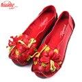 Xiuteng nacional viento flores hechas a mano de cuero genuino zapatos de mujer Retro suave fondo plano zapatos de lona verano pisos de Ballet