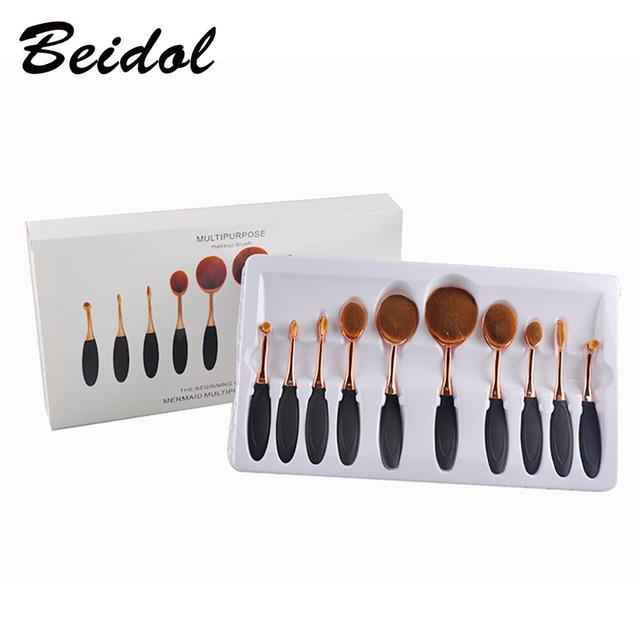 10 pçs/set Escova de Dente Forma Oval Maquiagem Jogo de Escova Multiuso Pincel de Maquiagem Fundação Pó Escova Kits Saco DO OPP
