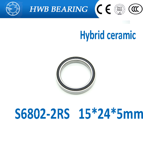 714049 s 15 5 Free shipping S6802-2RS (1PCS)  15x24x5mm hybrid ceramic Bearings S61802RS s6802RS S6802 2RS 15*24*5mm for bicycle part