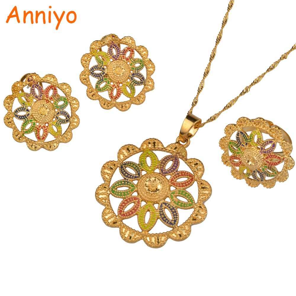 Anniyo Ethiopian Liontin Kalung & Anting-Anting & Cincin untuk Wanita Afrika Fashion Perhiasan Habesha Hadiah #089506