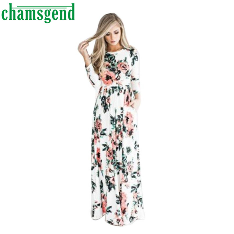 CHAMSGEND 2017 Vintage Bohemian Women Summer Spring O-Neck Floral - Women's Clothing