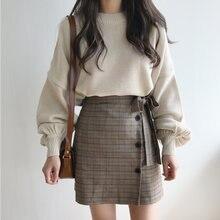 fd521e66b Sweater Wanita 2018 Gugur Musim Dingin Gaya Korea Vintage Lentera Lengan  Rajutan Pullover Wanita Atasan Pakaian Rajut Sueter Muj.