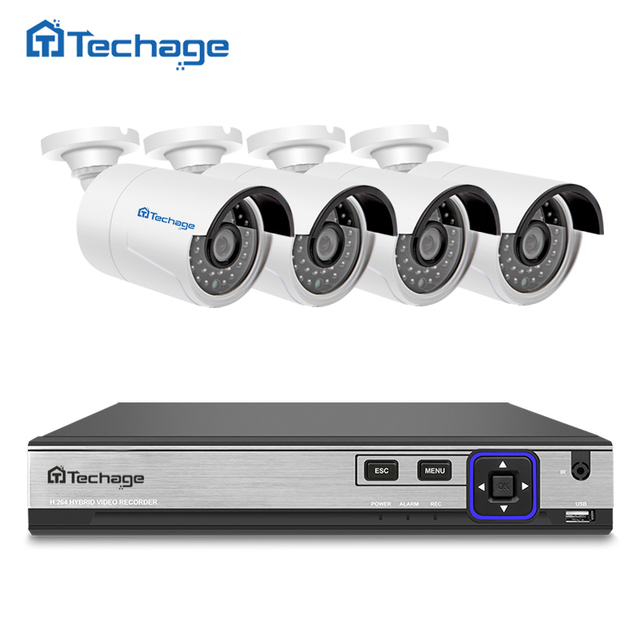 Techage H.265 4CH 48V POE NVR Kit CCTV System 4.0MP IP Camera P2P IR IP66 Outdoor Weatherproof Video Security Surveillance Set