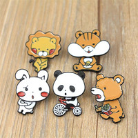 Free shipping fashion new cute animal lion rabbit enamel can be active lead needle brooch jewelry vintage pin Jewelry Sets