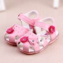 Toddler New Kids Girls Sandals Lighted Soft-Soled Rose Bowknot Elastic Band Princess Shoes
