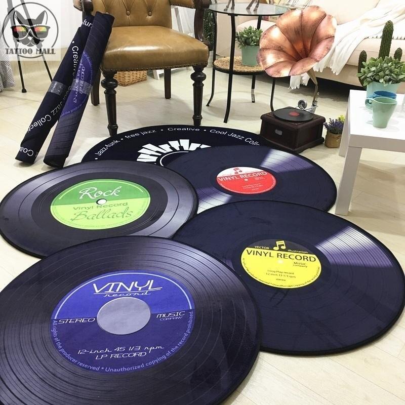 2019 רטרו CD שטיח מחצלת עתיק ספת כיסא כרית צד שטיח החלקה קצר קטיפה מחצלת ויניל רשומות דגם דלת דקור שטיח