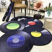 2019 alfombra de CD Retro, Alfombra de sofá antiguo, cojín de Silla, alfombra lateral antideslizante, alfombra corta de terciopelo, discos de vinilo, modelo de decoración de puerta, alfombra