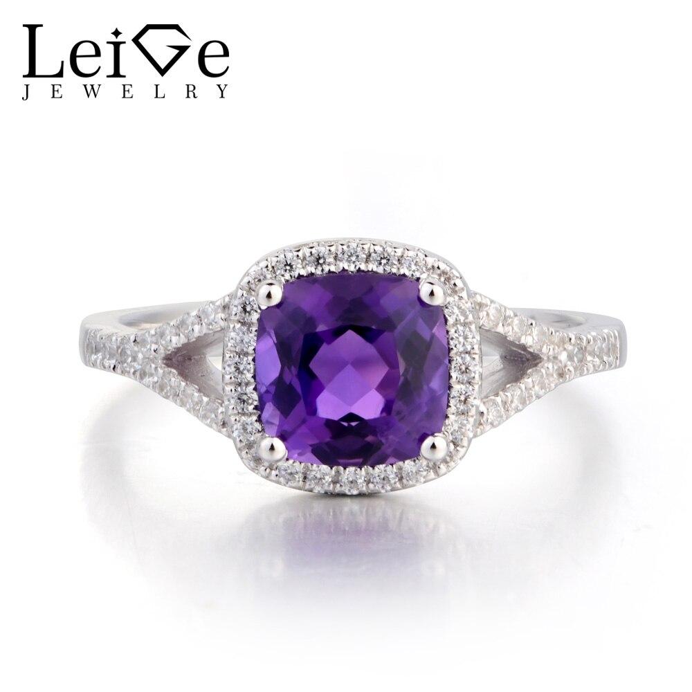 Leige bijoux bague de fiançailles améthyste naturelle bague coussin coupe violet pierre gemme 925 bague en argent Sterling pierre de naissance février