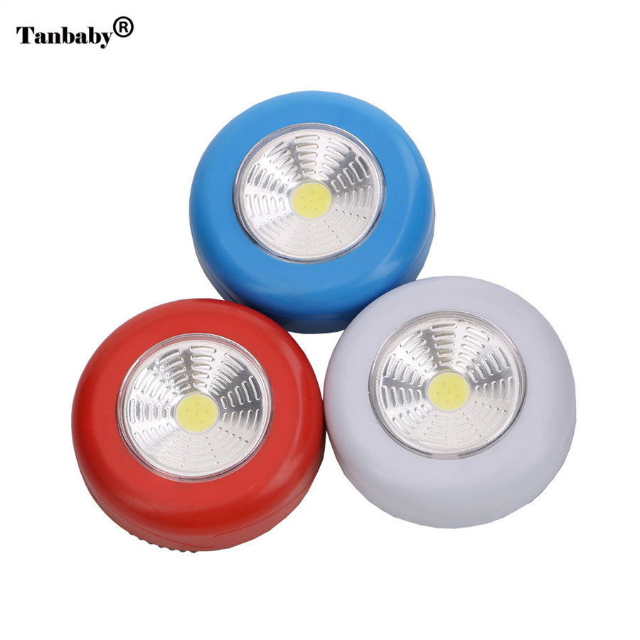 Tanbaby Battery Operated COB LED Night Light Round Shape White Touch sensor Mini Night emergency lamp for Stair cabinet bedroom