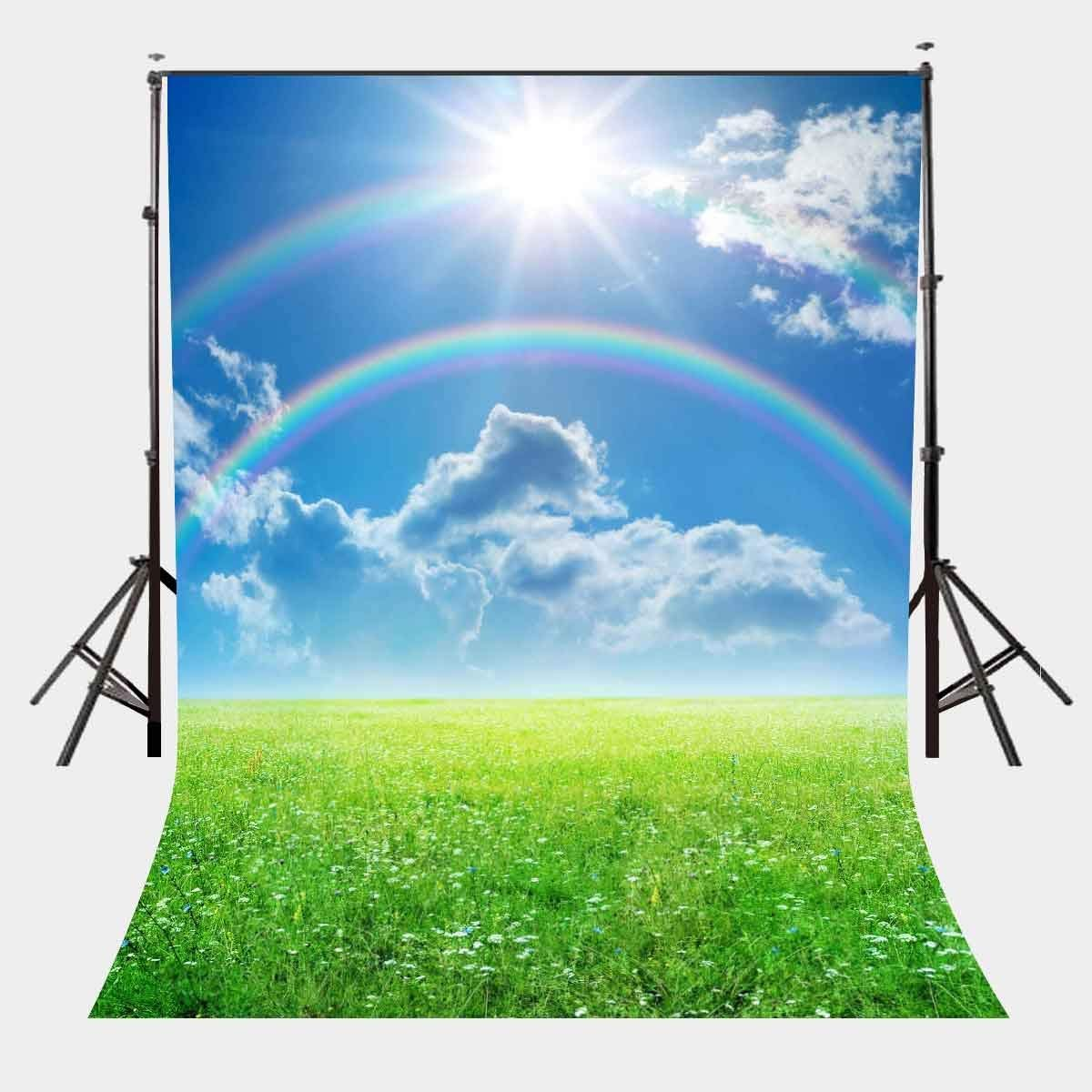 150x210cm Beautiful Natural Scene Backdrop Colorful Rainbow Sunny Sky Green Grassland Photography Background