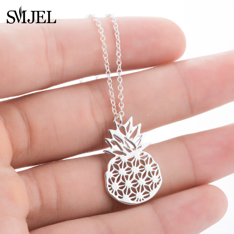 SMJEL Unique Pineapple Necklaces & Pendants Tropical Fruit Jewelry Gold / Silver / Rose Gold Necklace Choker Birthday Gift