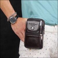 Cell Phone Case Genuine Leather Zipper Pouch Belt Clip Waist Purse Case Cover For Caterpillar CAT