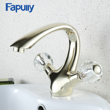 Fapully Gold Bathroom Sink Faucet Crystal Handles Swan Hot Cold Water Mixer Taps Deck Mounted Dual Handle Basin Faucet 560-11