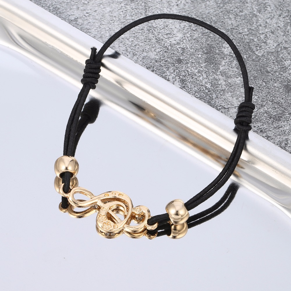 Wholesale Gold Tiny Music Note Bracelet Women Elastic Rope Beads Crystal Music Bracelet Jewelry Accessories Dropshipping 2018