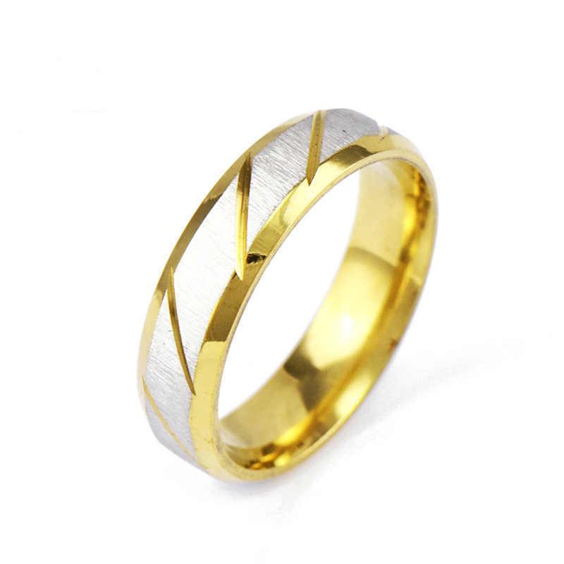 In Acciaio Inox Anello di Cerimonia Nuziale per Le Donne e Gli Uomini Classico Colore Oro Anello di Fidanzamento Gioielli Fasce Per EKUSTYEE di Marca