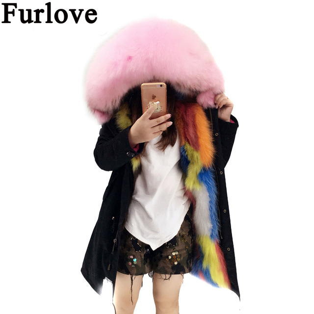 Furlove Real Fur Winter Jacket Women Coat Warm Detachable Lining Raccoon Fur Collar Hooded Army Green Brand Parka Outwear kohuijoos 3xl winter women army green large raccoon fur collar hooded coat warm detachable natural fox fur lining parka coats