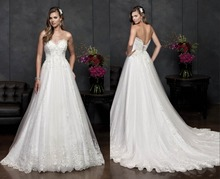 New A-Line Tulle Wedding Dress Bridal Gown Sweetheart Backless Long Chapel Train Appliques White Ivory F795