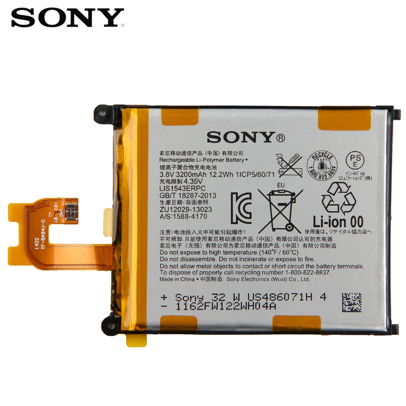 Original Replacement SONY Battery LIS1543ERPC For Sony Xperia Z2 SO 03 D6502 D6503 L50w Sirius Genuine Phone Battery 3200mAh in Mobile Phone Batteries from Cellphones Telecommunications