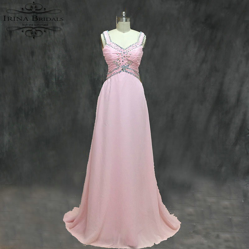 4167c419f22 Hot Sale Cap Sleeve Crystal Keyhole Back Chiffon Pink Evening Dress ...