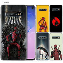 Marvel Deadpool Kasus Silicone Hitam untuk Samsung Galaxy M20 S10e S10 S9 M40 M30 M10 S8 PLUS 5G S7 s6 Edge Cover Coque(China)