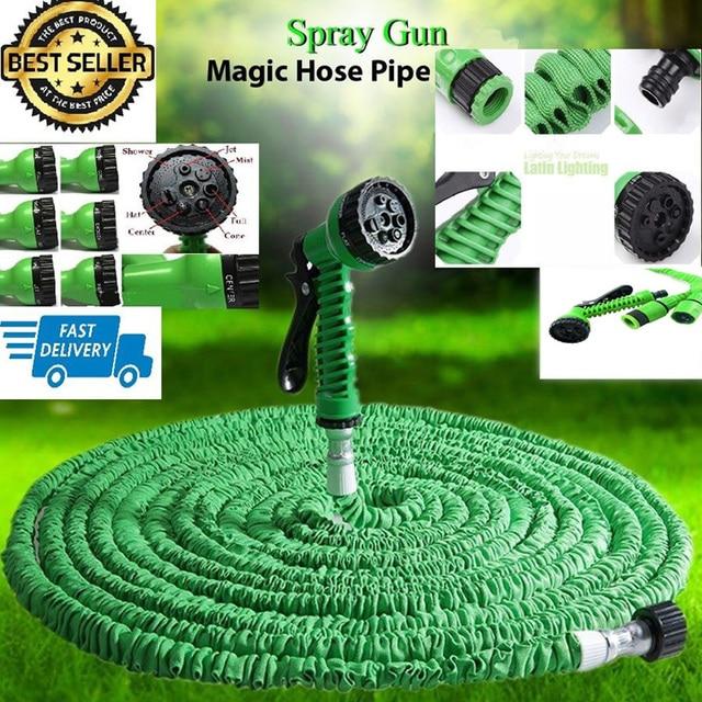 flexible garden hose. Green Magic Expandable Latex Expanding Flexible Garden Water Hose With Spray Nozzle 25 50 75 100 N