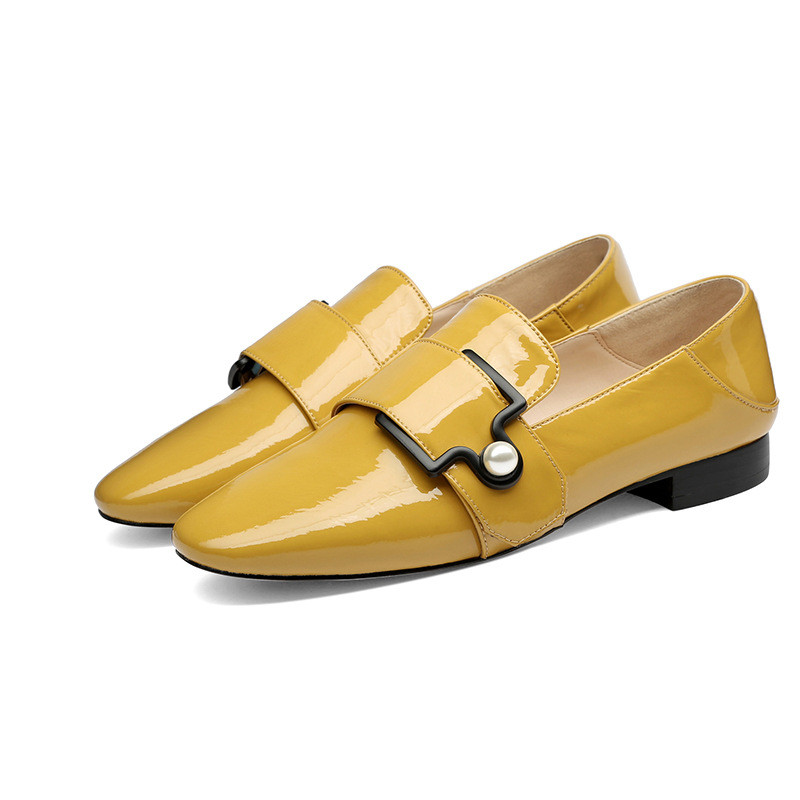 2019 spring and autumn new fashion thick with low-heeled square head womens shoes yellow 03242019 spring and autumn new fashion thick with low-heeled square head womens shoes yellow 0324